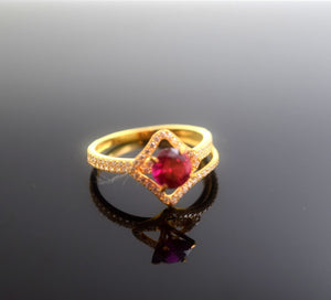"22k 22ct Solid Gold Elegant SYNTHETIC RUBY STONE Ring size 7.5 ""RESIZABLE"" r480 - Royal Dubai Jewellers"