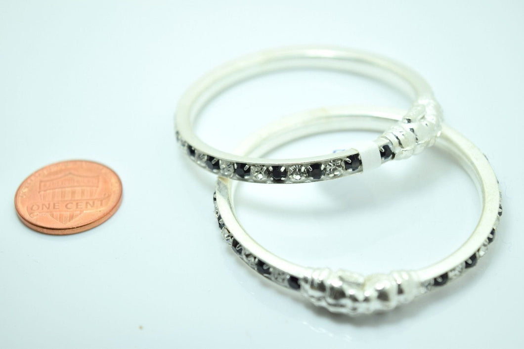2PC HANDMADE Baby Solid Silver Bracelet 925 sb7 Sterling Children Bangle Cuff - Royal Dubai Jewellers