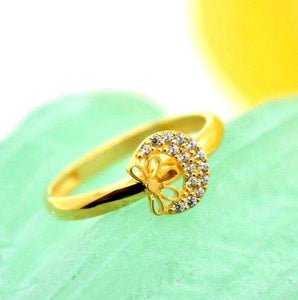 "22k 22ct Solid Gold CUTE ROUND ZIRCONIA BABY KID Ring ""RESIZABLE"" size 4.2 r743 - Royal Dubai Jewellers"