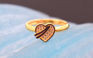 "22k 22ct Solid Gold CUTE ZIRCONIA HEART BABY KID Ring ""RESIZABLE"" size 4.2 r748 - Royal Dubai Jewellers"