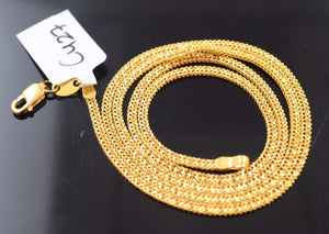 "22k 22ct Solid Gold THICK PLAIN FLAT NECKLACE CHAIN LENGHT 18""  c427 - Royal Dubai Jewellers"