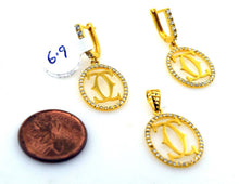 22k 22ct Solid Gold ELEGANT STONE CHANNEL Pendant Set EARRING S13 - Royal Dubai Jewellers