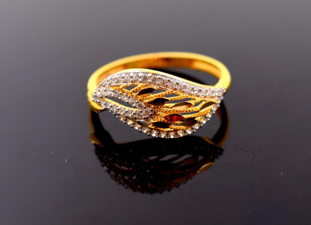 "22k 22ct Solid Gold Elegant STONE BAND Ring size 7.8 ""FREE RESIZABLE"" r649"