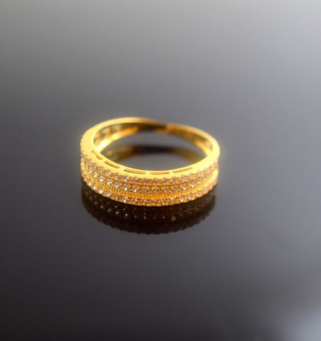 "22k 22ct Solid Gold Elegant STONE Ring band size 8.0 ""FREE RESIZABLE"" r508 - Royal Dubai Jewellers"