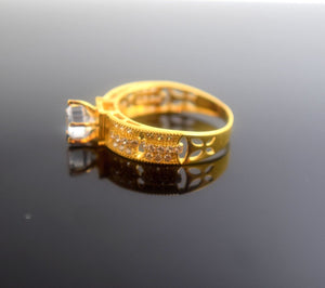 "22k 22ct Solid Gold Elegant SOLITIARE STONE Ring size 8.0 ""RESIZABLE"" r497 - Royal Dubai Jewellers"