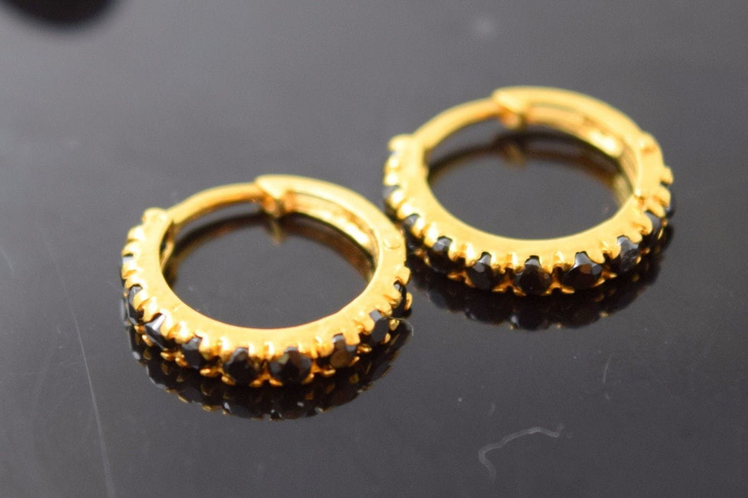 22k 22ct solid gold ELEGANT BLACK STONE HOOPS BALI EARRINGS with BOX E1336 - Royal Dubai Jewellers