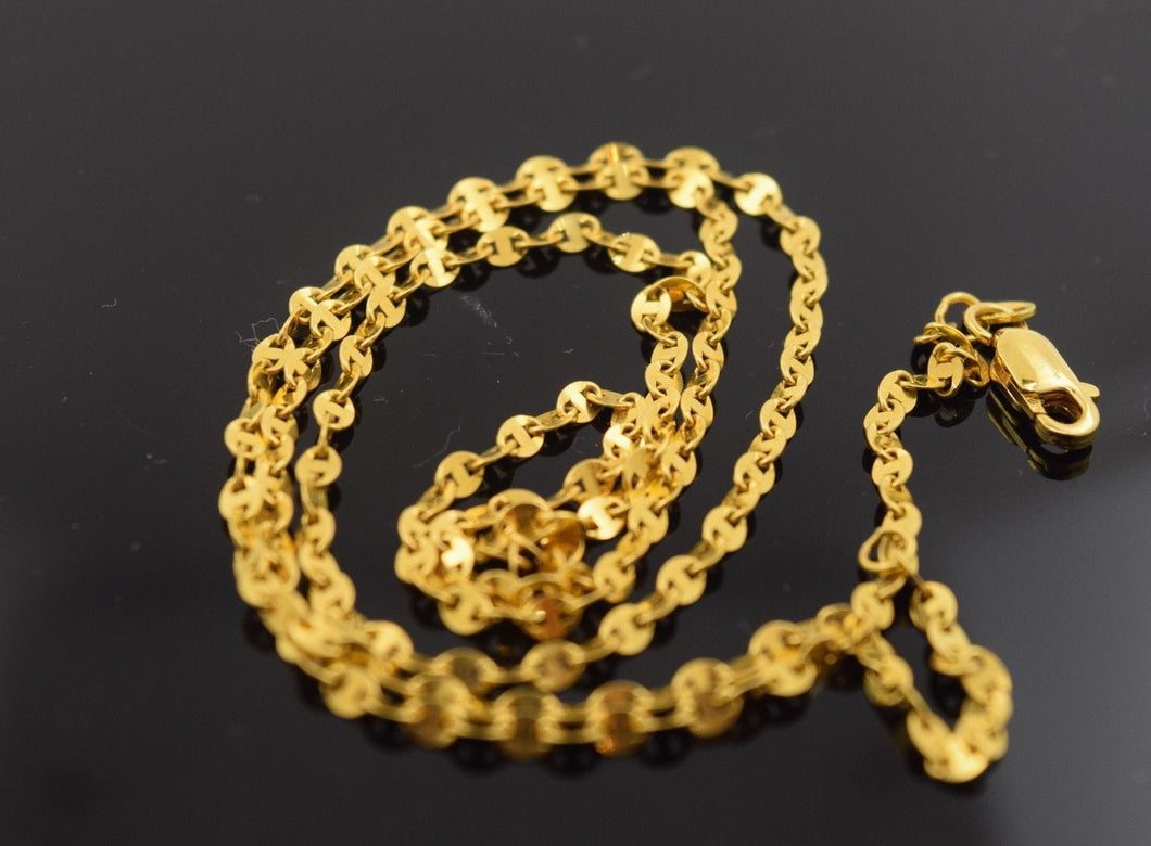 22k Yellow Solid Gold Chain Rope Necklace 1mm c108 with white diamond cut box - Royal Dubai Jewellers