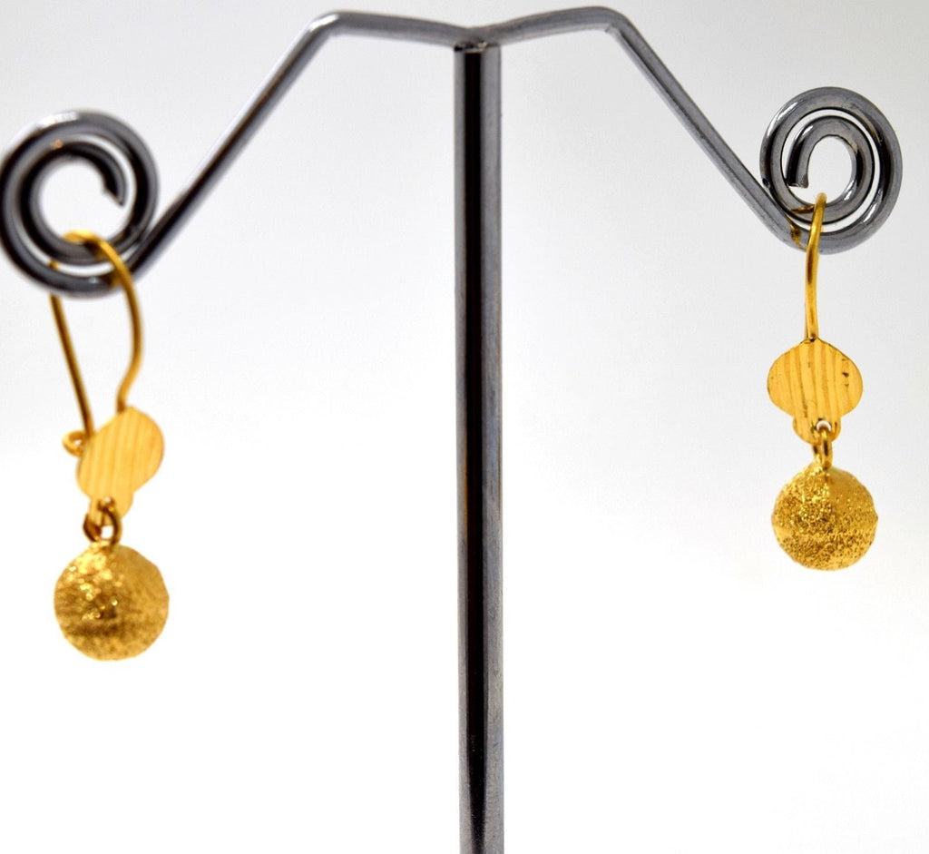 22k 22ct Solid Gold ELEGANT HANGING BALL HOOK EARRINGS with free box E2020 - Royal Dubai Jewellers