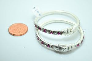 2PC HANDMADE Baby Solid Silver Bracelet 925 sb2 Sterling Children Bangle Cuff - Royal Dubai Jewellers