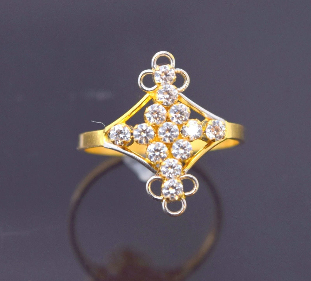 22k 22ct Solid Gold BEAUTIFUL STONE LADIES BAND Ring SIZE 7.8