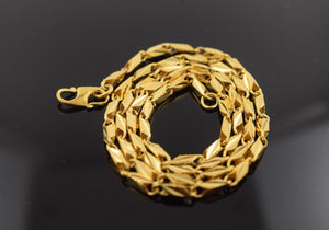 22k Yellow Solid Gold Chain Rope Necklace 2.6mm c117 with white diamond cut box - Royal Dubai Jewellers