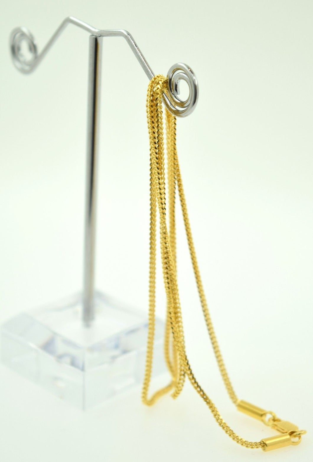 22k Yellow Solid Gold Chain rope Necklace 1.5 mm C6 with white diamond cut box - Royal Dubai Jewellers