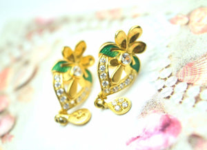 22k 22ct Solid Gold ELEGANT STONE FLOWER EARRINGS STUD FREE BOX E260 - Royal Dubai Jewellers