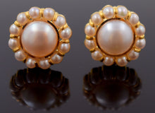 22k 22ct Solid YELLOW Gold NATURAL PEARL IMITATION BRIDAL FLOWER EARRINGS E1258 - Royal Dubai Jewellers
