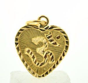 22k 22ct Solid Gold HINDU OM AUM OHM HEART pendant charm locket with box p260A - Royal Dubai Jewellers