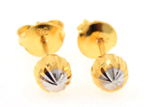 22k 22ct Solid Yellow Gold BALL GLIMMER STUD DIAMOND CUT EARRINGS E1284 - Royal Dubai Jewellers