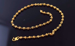 22k 22ct Solid Gold ELEGANT SMALL BALL WOMEN ANKLET SHINNY LENGHT 10.2in B596 - Royal Dubai Jewellers