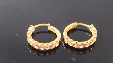 22k 22ct solid gold ELEGANT STONE ZIRCONIA HOOPS BALI EARRINGS FREE BOX E1345 - Royal Dubai Jewellers