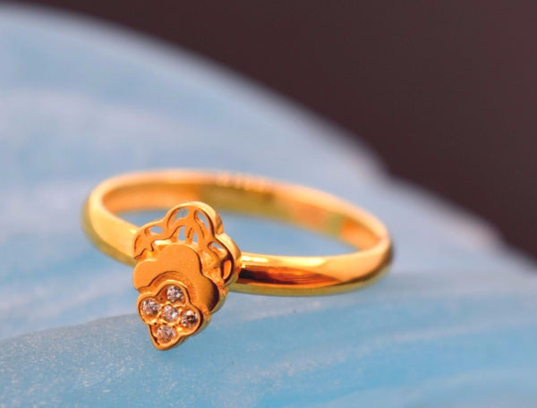 "22k 22ct Solid Gold CUTE DESIGN ZIRCONIA BABY KID Ring ""RESIZABLE"" size 4.2 r754 - Royal Dubai Jewellers"