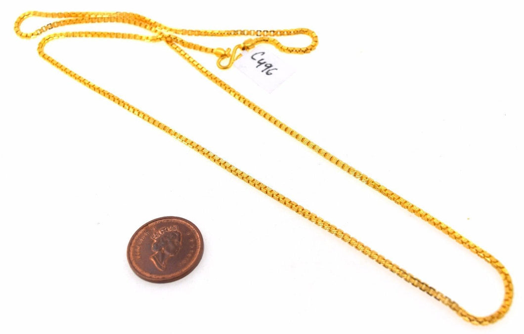 22k 22ct Yellow Solid GOLD THICK ROUND BOX LINK Chain Necklace LENGHT 22