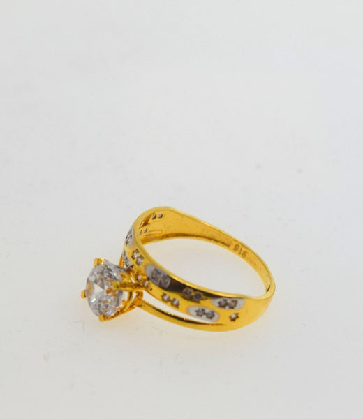 22k 22ct Solid Gold ELEGANT SOLITAIRE Stone RING BAND BOX No Resizable R476 - Royal Dubai Jewellers