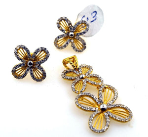22k 22ct Solid Gold ELEGANT STONE FLOWER Pendant Set EARRING S04 - Royal Dubai Jewellers