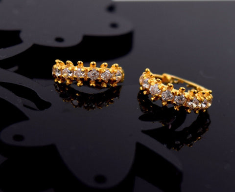 22k 22ct Solid Gold FANCY ZIRCONIA TINY HOOP BALI EARRING WITH BOX E2009 - Royal Dubai Jewellers