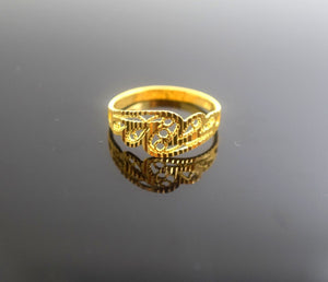 "22k 22ct Solid Gold Elegant BAND Ring size 7.0 ""FREE RESIZABLE"" r482 - Royal Dubai Jewellers"