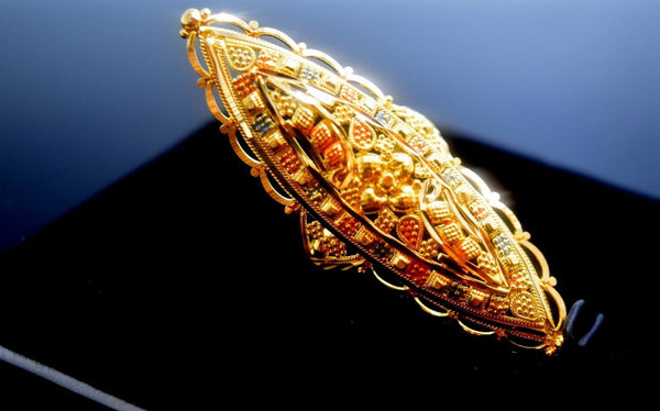 "22k 22ct Solid Gold Elegant LONG Ring size 8.0 ""FREE RESIZABLE"" r445 - Royal Dubai Jewellers"