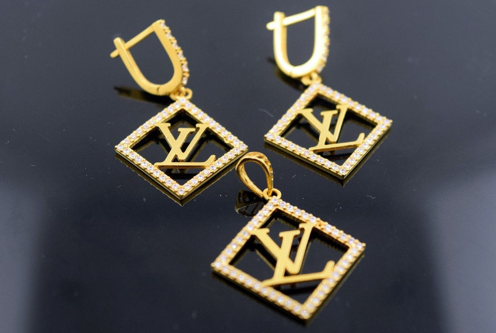 22k 22ct Solid Gold ELEGANT STONE LOUIS VUITTON Pendant Set EARRING S12 - Royal Dubai Jewellers