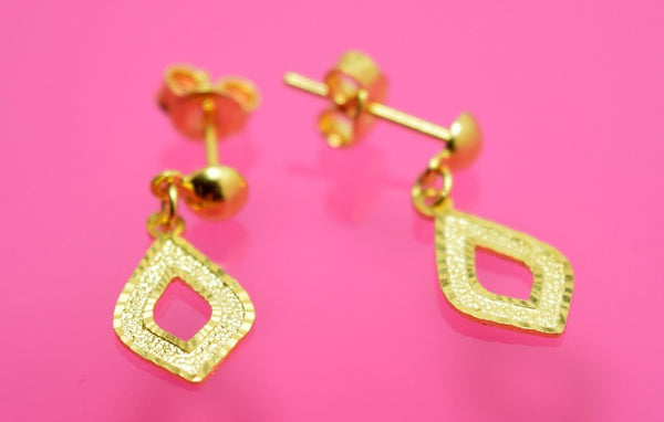 22k 22ct solid gold ELEGANT 3 COLOR LONG DANGLING EARRINGS with FREE BOX E38 - Royal Dubai Jewellers