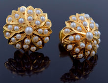 22k 22ct Solid Gold ELEGANT NATURAL PEARL TOPS STUD EARRINGS with BOX E2000 - Royal Dubai Jewellers