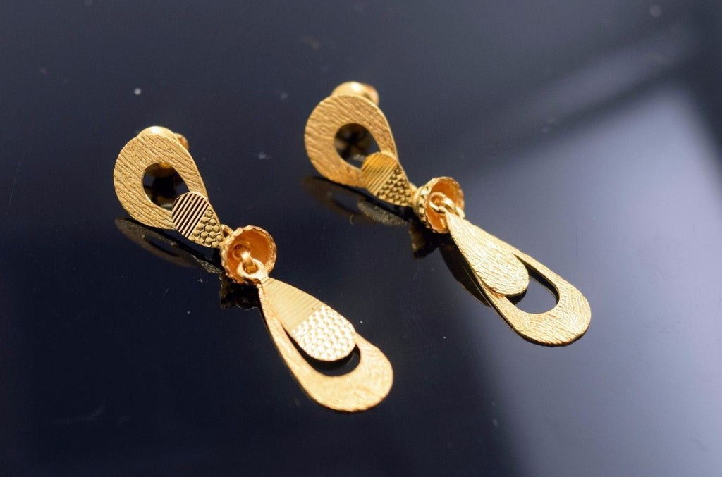 22k 22ct Solid Gold ELEGANT LONG EARRINGS HANGING with free box E650 - Royal Dubai Jewellers
