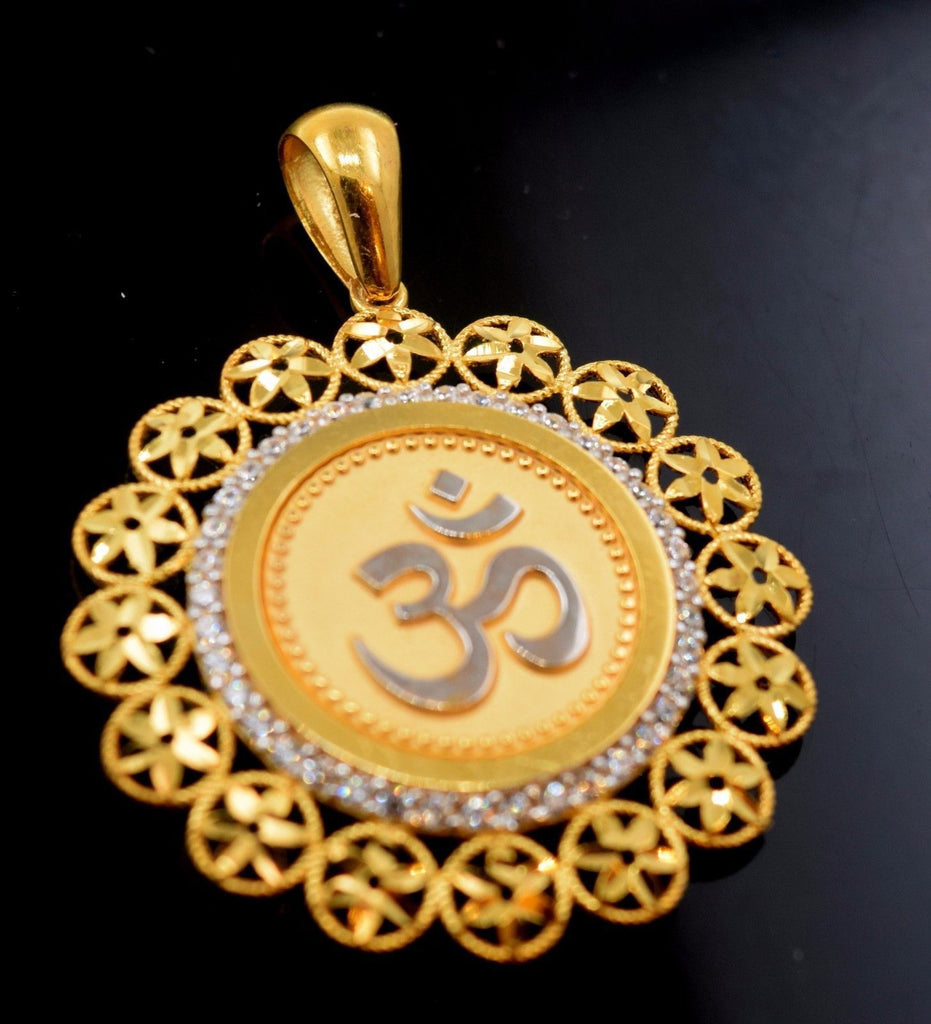 The powerful om in gold pendants forever22karat 22ct solid gold hindu religious om flower pendant charm aloadofball Image collections