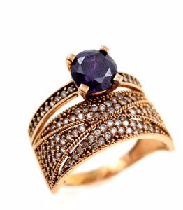 22k 22ct Solid Gold ZIRCONIA PURPLE SOLITAIRE WOMEN Ring RESIZABLE size8.0 r771 - Royal Dubai Jewellers