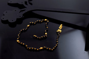 22k 22ct Solid Gold ELEGANT BLACK BEEDS BRACELET with unique BOX  B349 - Royal Dubai Jewellers