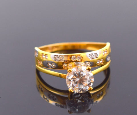 "22k 22ct Solid Gold ZIRCONIA SOLITAIRE BAND WOMEN Ring ""RESIZABLE"" size8.0 r761 - Royal Dubai Jewellers"