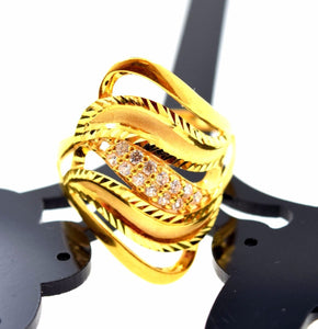 "22k 22ct Solid Gold Elegant STONE BAND Ring size 8.0 ""FREE RESIZABLE"" r628 - Royal Dubai Jewellers"