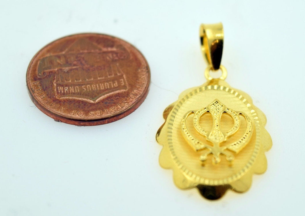 22k 22ct Solid Gold  Sikh Religious pendant charm locket p263 - Royal Dubai Jewellers