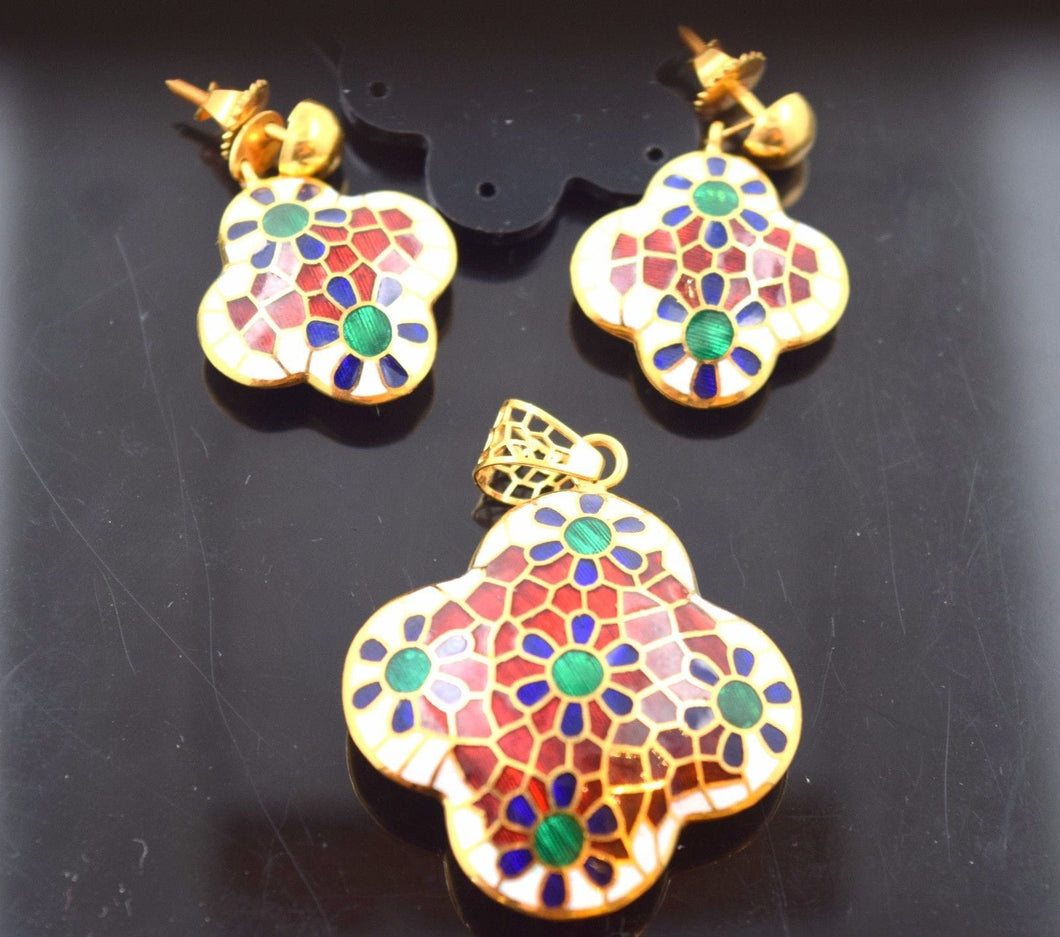 22k 22ct Solid Gold ELEGANT PENDANT SET FLOWER EARRINGS STUD WITH BOX S100 - Royal Dubai Jewellers