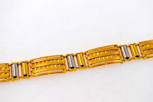 22k 22ctSolid Gold FANCY ITALIAN DESIGNER MEN BRACELET RHODIUM LENGHT 8.2in B576 - Royal Dubai Jewellers