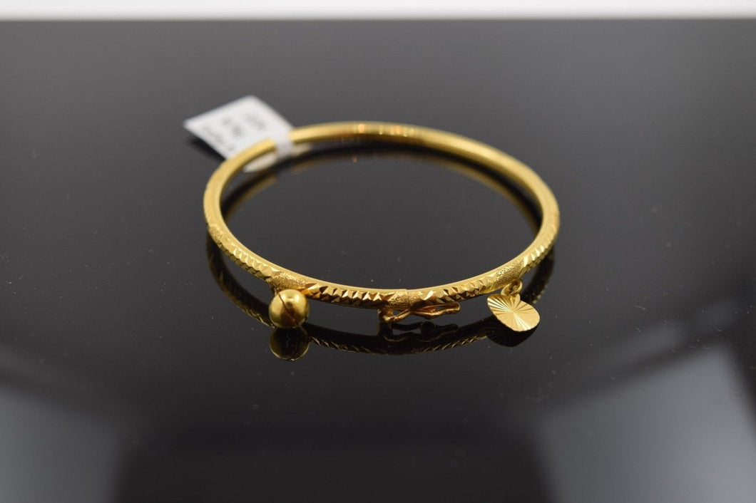 22k 22ct Solid Gold ELEGANT PLAIN BABY CHILDREN BANGLE BRACELET 2095 - Royal Dubai Jewellers