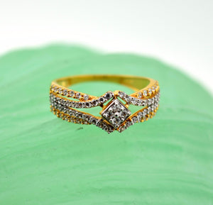 "22k 22ct Solid Gold ZIRCONIA DESIGNER BAND WOMEN Ring ""RESIZABLE"" size 7.5 r764 - Royal Dubai Jewellers"