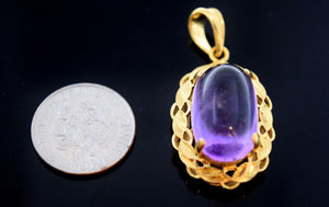 22k 22ct Solid Gold ELEGANT SYNTHETIC PURPLE STONE OVAL PENDANT  p597 - Royal Dubai Jewellers