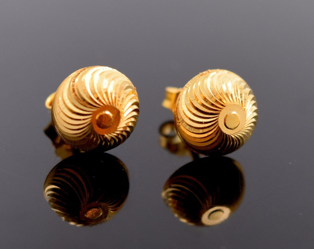 22k 22ct Solid Gold ELEGANT HALF BALL STUD LASER CUT EARRINGS with BOX E2025 - Royal Dubai Jewellers