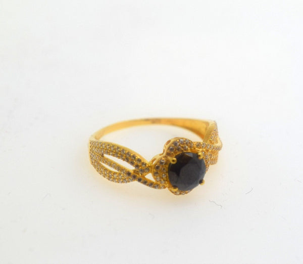 "22k 22ct Solid Gold Elegant BLUE SAPPHIRE STONE Ring size 8.0 ""RESIZABLE"" r481 - Royal Dubai Jewellers"