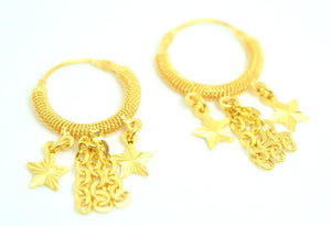 22k 22ct solid gold ELEGANT Hoop EARRINGS HANGING DANGLING FREE BOX E320 - Royal Dubai Jewellers