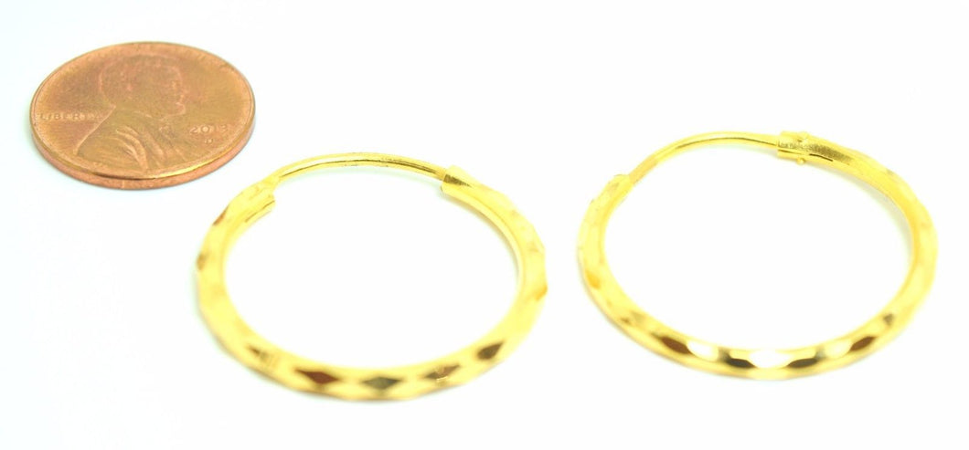 22k 22ct solid gold ELEGANT Hoop EARRINGS FREE BOX E335 - Royal Dubai Jewellers