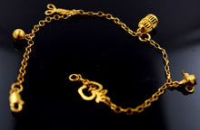 22k 22ct Solid Gold ELEGANT Bracelet DANGLING CHARMS with unique BOX  B345 - Royal Dubai Jewellers