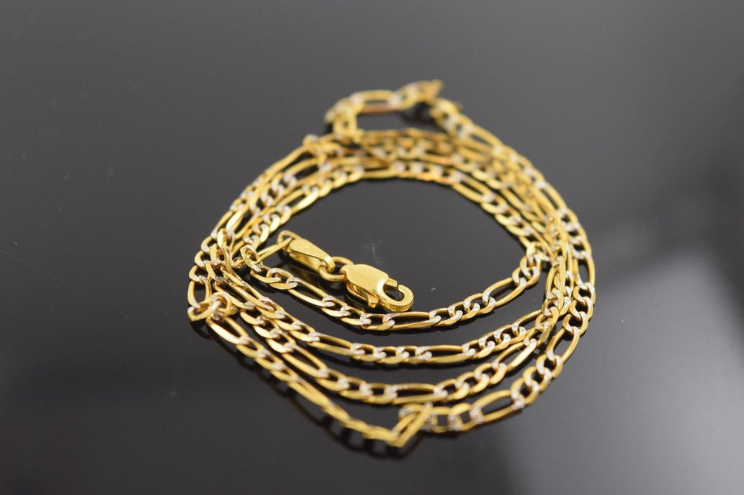 22k Yellow Solid Gold Chain Rope Necklace 2.2mm c153 with white diamond cut box - Royal Dubai Jewellers
